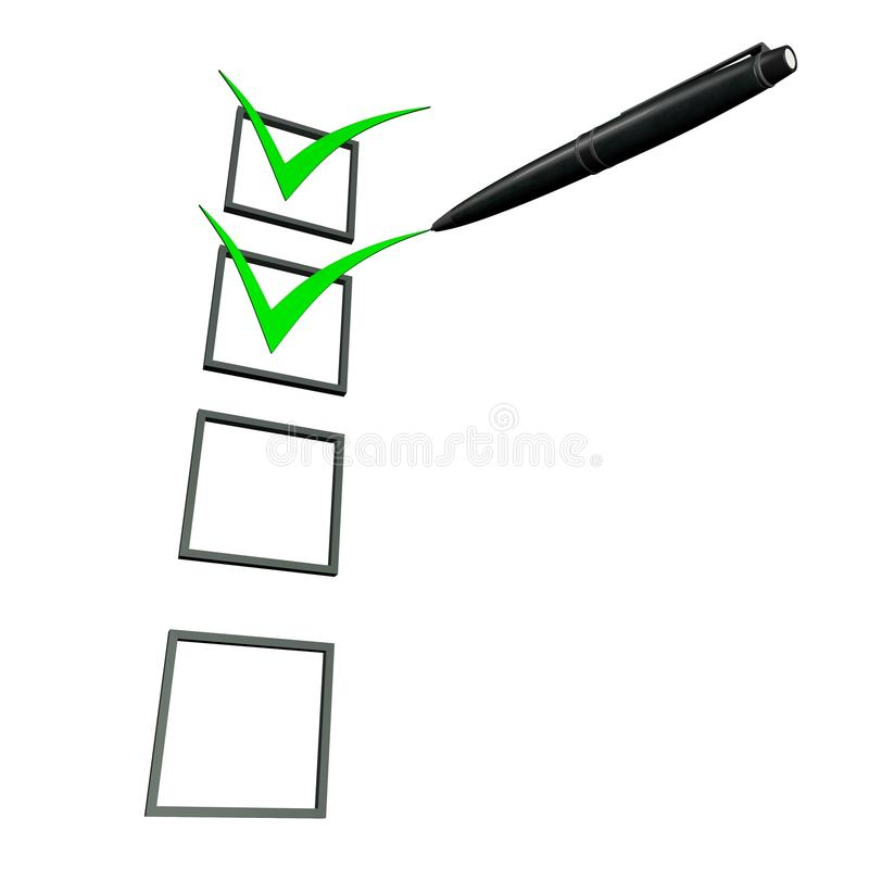 grüne Kastenfeder des Checks 3d stock abbildung