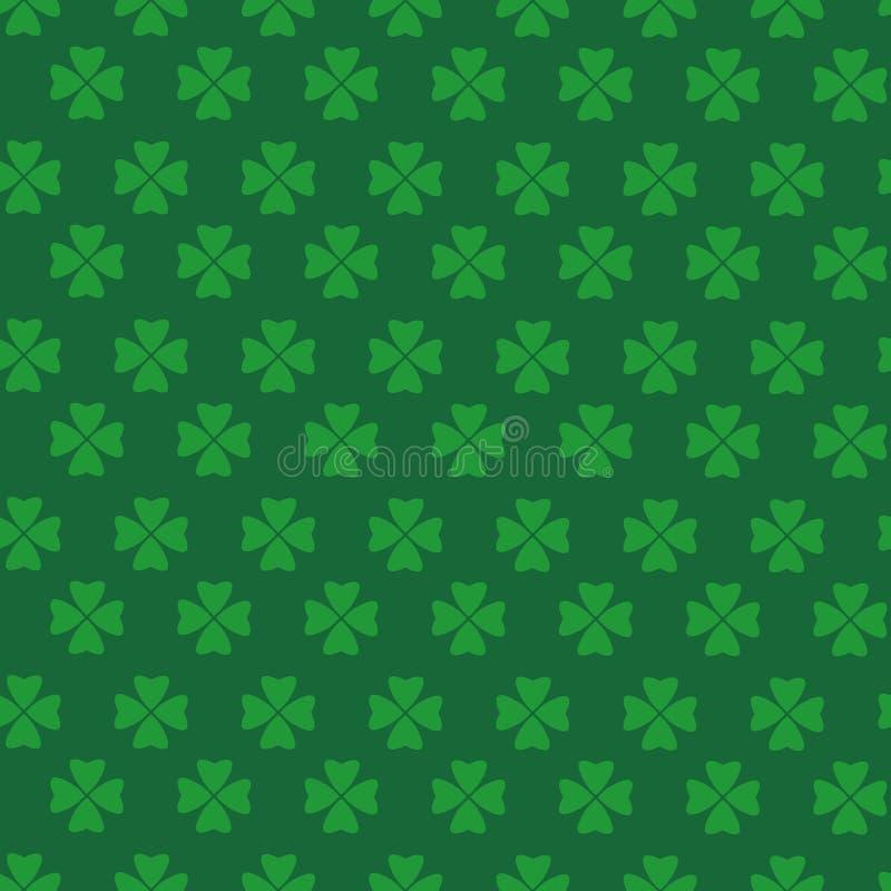 Grüne Klee-Beschaffenheit, Heiliges Patrick Day Seamless Pattern Background mit Shamrock-Blättern lizenzfreie abbildung