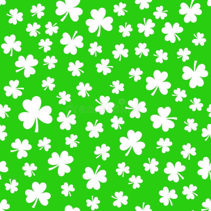 Grüne Kleeblätter, nahtloses Muster Patrick `s Tageshintergrund vektor abbildung