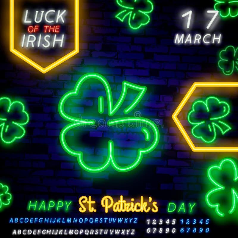 Grüne Kleeleuchtreklame Heiliges Patricks Tagesauslegung Nachthelle Leuchtreklame, bunte Anschlagtafel, helle Fahne Auch im corel vektor abbildung