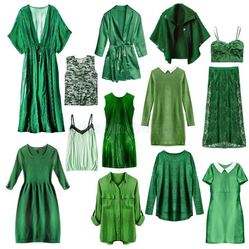 Grüne Kleidung lokalisiert stockfotografie