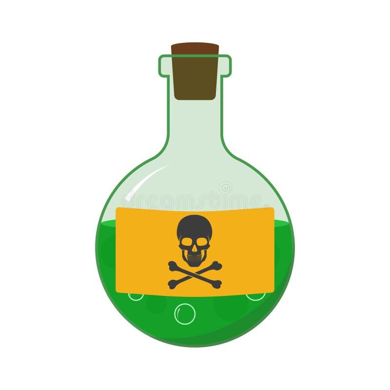 Grüne kleine Flasche mit Gift auf weißem Hintergrund Vector stock abbildung