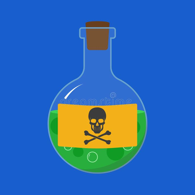 Grüne kleine Flasche mit Gift und Schild mit Schädel und Kreuzknochen Vector stock abbildung