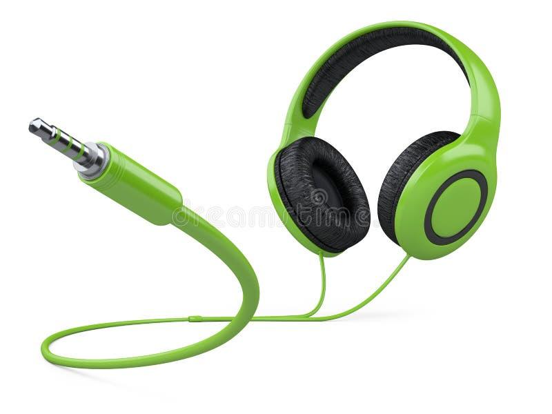 Grüne Kopfhörer Mit Draht Und 3 5 Millimeter-Steckfassungsstecker ...