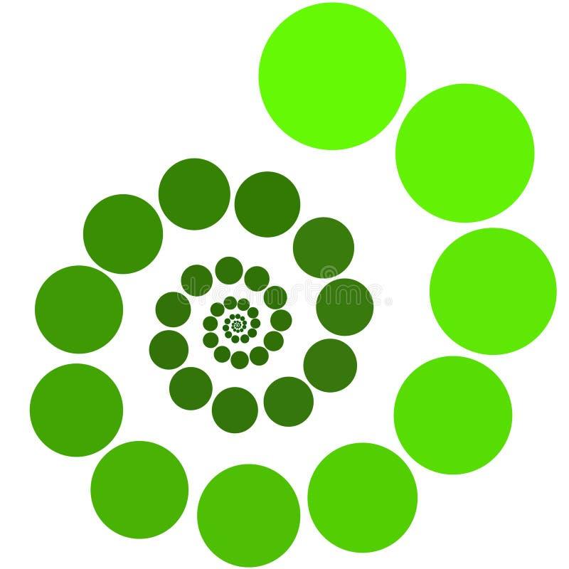 Grüne Kreise in einer Spirale vektor abbildung