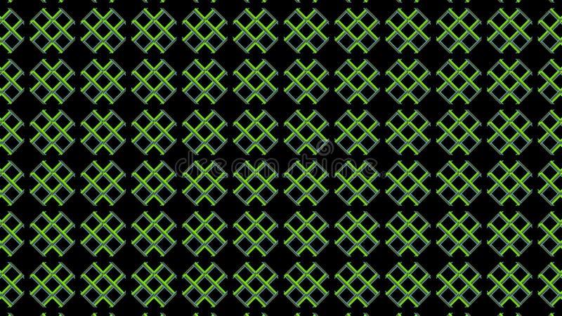 Grüne Kreuze auf einem schwarzen Hintergrund Geometrisches Textilnahtloses Muster stock abbildung