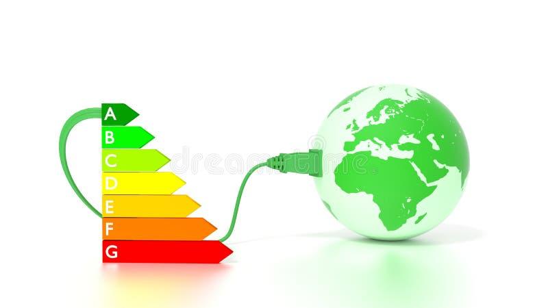 Grüne Kugel, die Europa- und Afrika-Energieeffizienzdiagramm zeigt stock abbildung