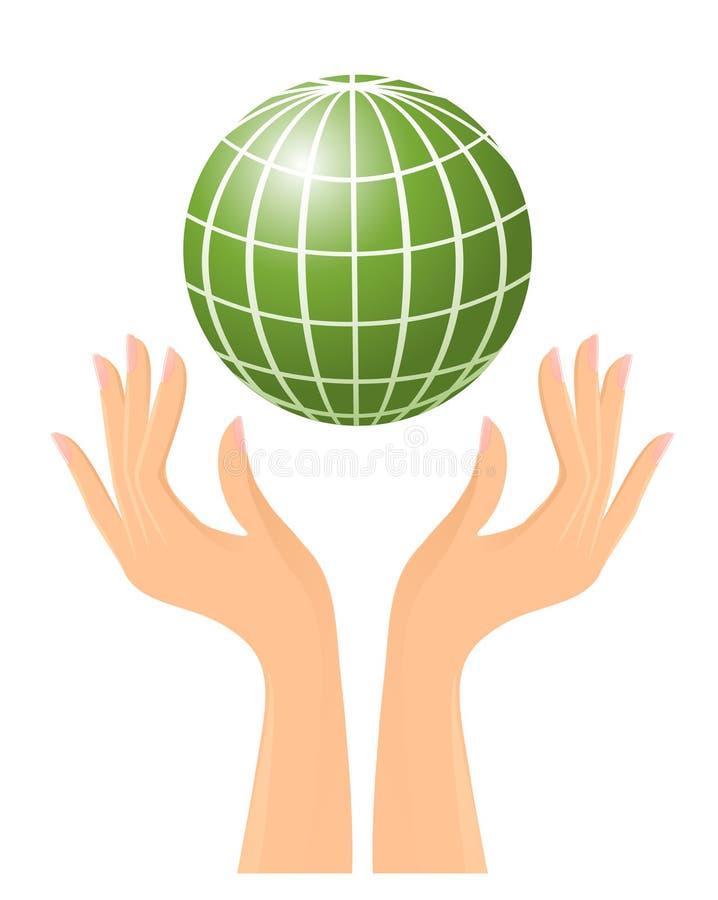 Grüne Kugel und Hände stock abbildung