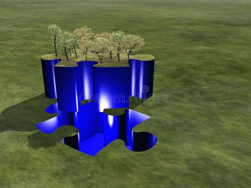 Grüne Landschaft des Puzzlespiels lizenzfreie abbildung