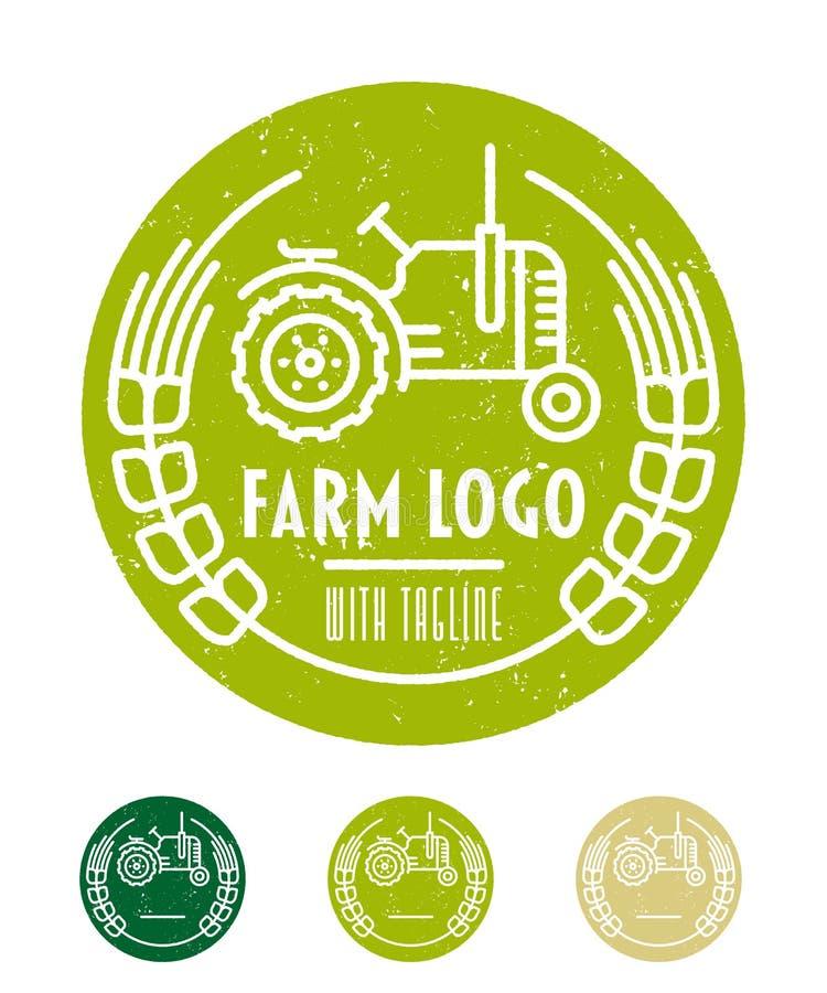Grüne Landwirtschaftslogoschablone mit Traktor- und Erntelinie Kunst vektor abbildung