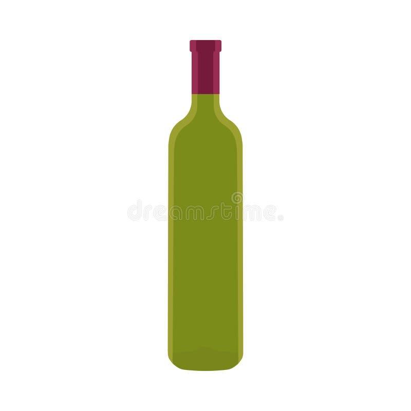 Grüne leere Flasche Wein lizenzfreie abbildung
