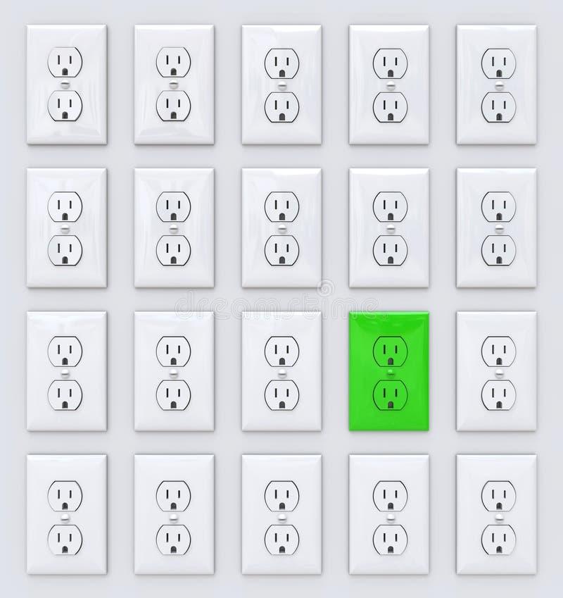 Grüne Leistung - viele Anschlüsse lizenzfreie abbildung