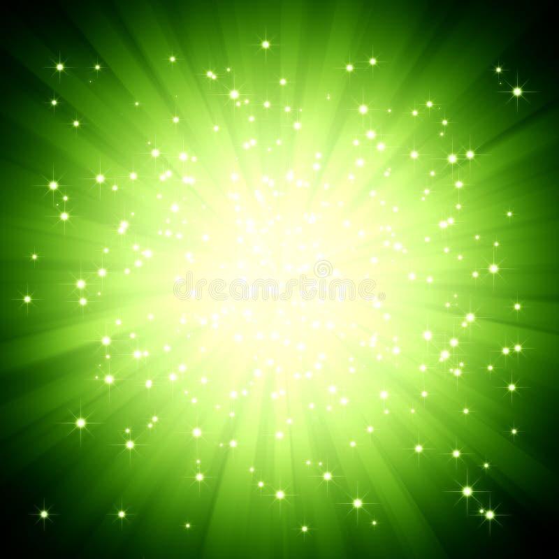 Grüne Leuchte des Scheins barst mit Sternen stock abbildung