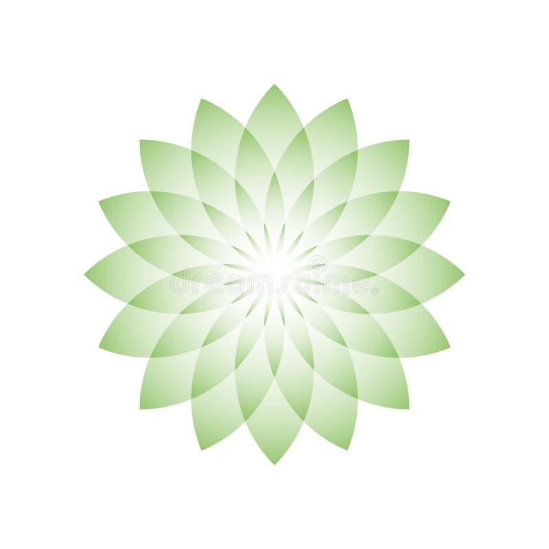 Grüne Lotosblume - Symbol von Yoga, von Wellness, von Schönheit und von Badekurort Auch im corel abgehobenen Betrag vektor abbildung
