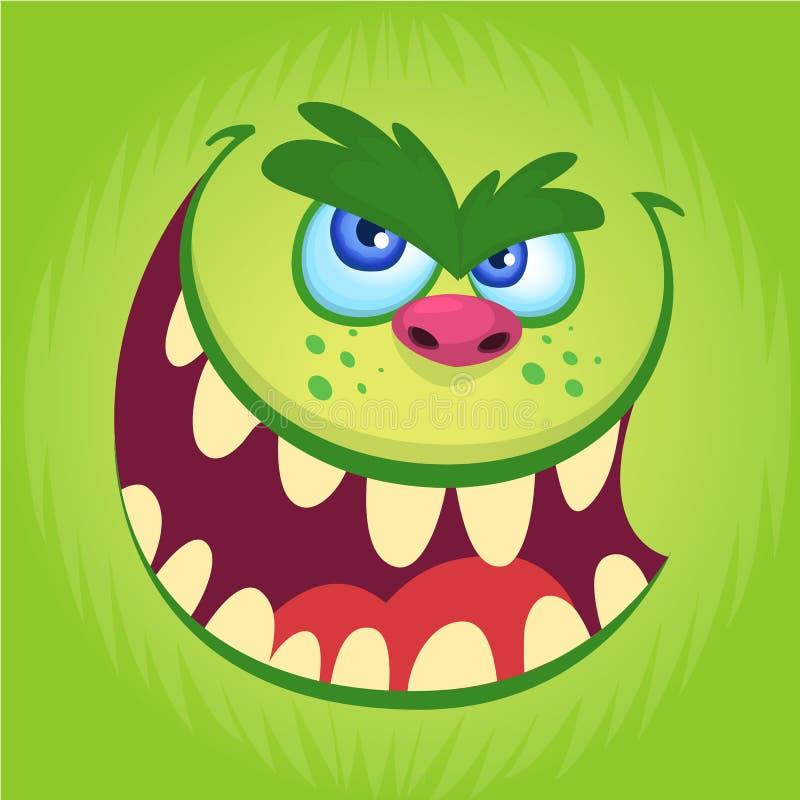 Grüne lustige Schleppangel des Vektors oder Koboldgesicht Lächelndes Gesicht des Karikaturmonsters mit großen Augen und Mund stock abbildung