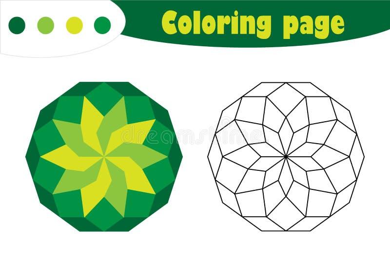 Grüne Mandala in der Karikaturart, Färbungsseite, Frühlingsausbildungs-Papierspiel für die Entwicklung von Kindern, Kindervorschu vektor abbildung
