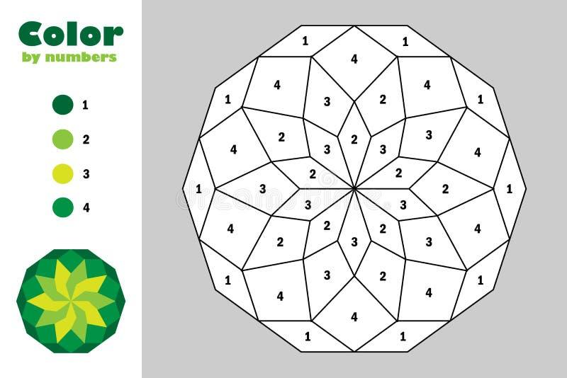 Grüne Mandala in der Karikaturart, Farbe durch Zahl, Ausbildungspapierspiel für die Entwicklung von Kindern, Färbungsseite, Kinde lizenzfreie abbildung