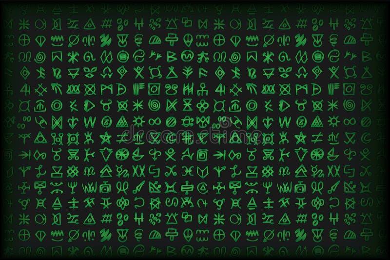 Grüne Matrix Digital und Computerschlüsselsymbolvektor bsckground vektor abbildung