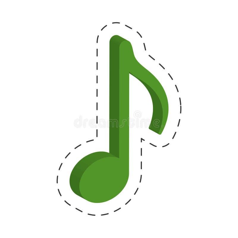 grüne Musikanmerkungs-Schnittlinie lizenzfreie abbildung