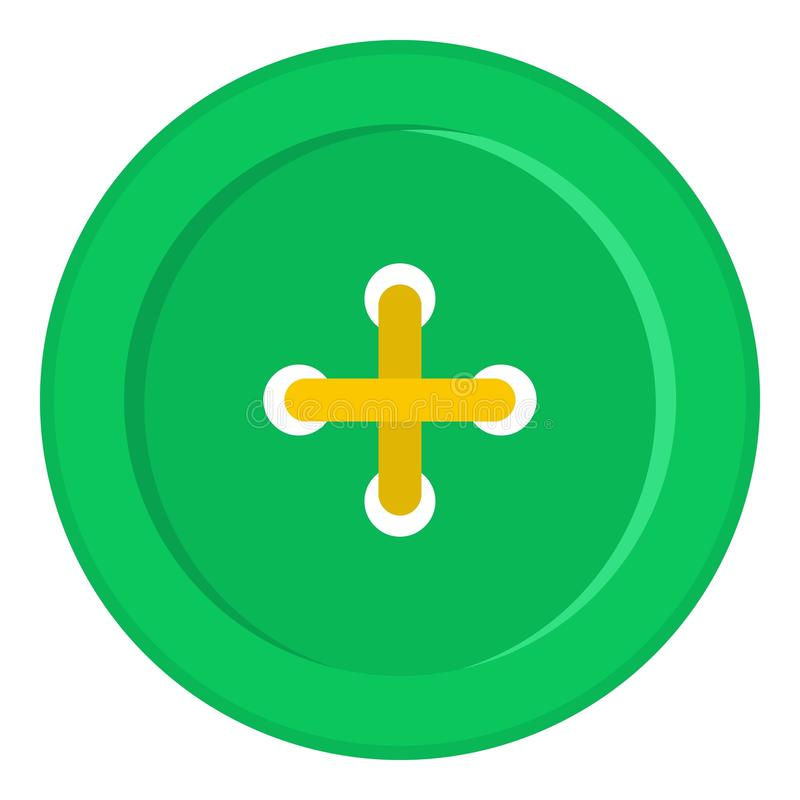 Grüne nähende Knopfikone lokalisiert lizenzfreie abbildung