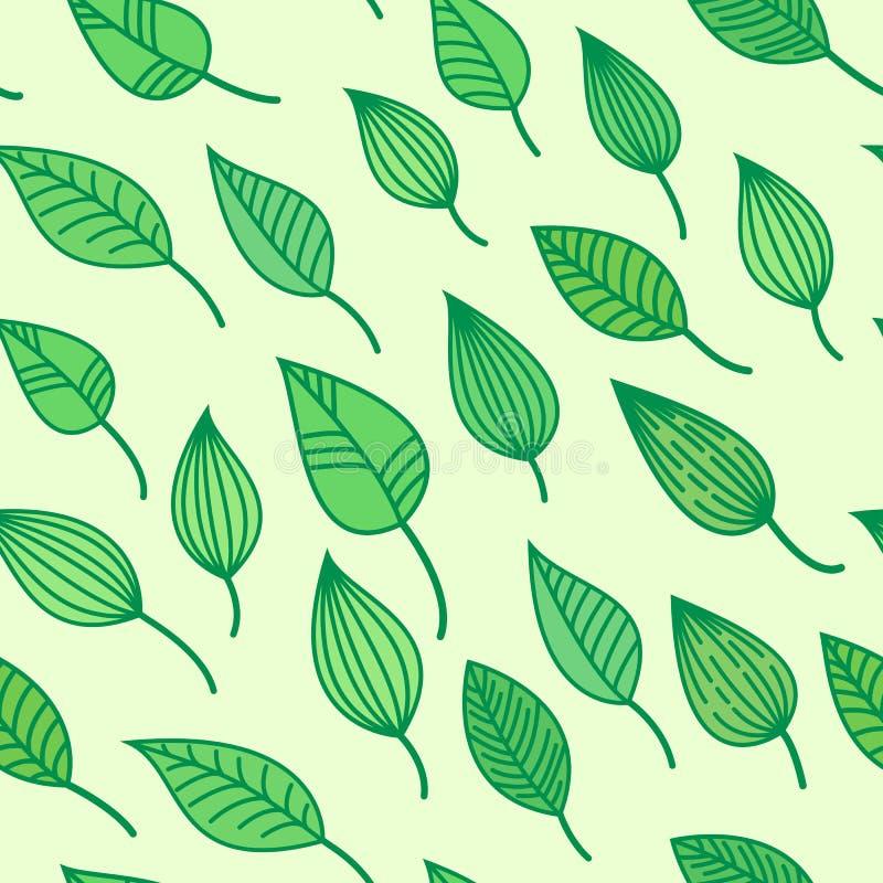 Grüne nahtlose Holzschuhe mit Blättern, Vektorsommer und Frühlingshintergrund, Grün tapezieren lizenzfreie abbildung