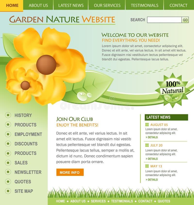Grüne Natur-Blumen-site-Schablone stock abbildung