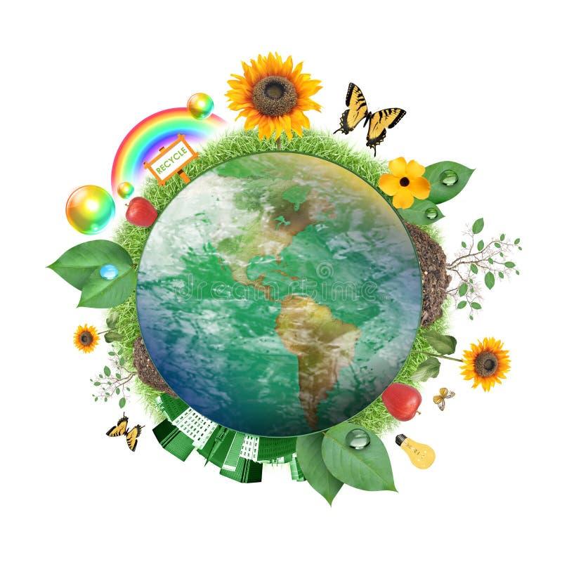 Grüne Natur-Erde-Ikone lizenzfreie abbildung