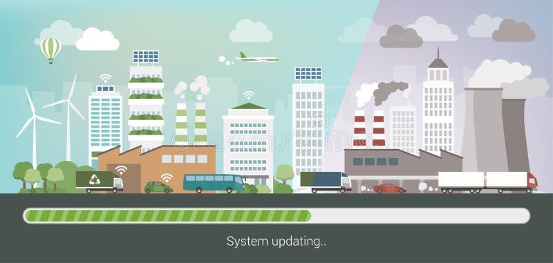 Grüne oben aktualisierende Stadt lizenzfreie abbildung
