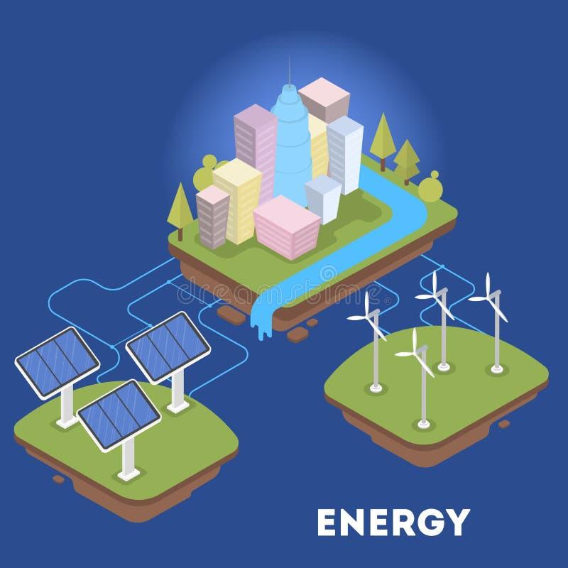 Grüne oder alternative Energie für die Stadt isometrisch vektor abbildung