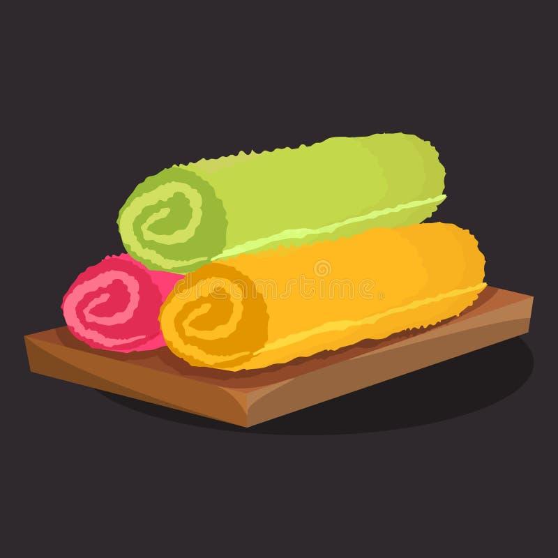 Grüne, orange und rosa Tücher Schön gefaltet lizenzfreie abbildung
