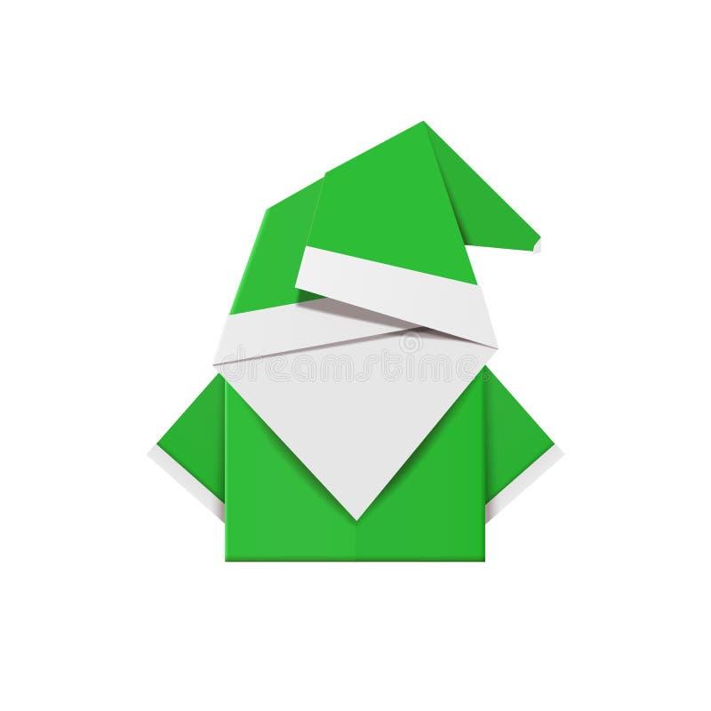 Grüne Origamielfe Weihnachtsdekorationsspielzeug vom Papier lizenzfreie abbildung