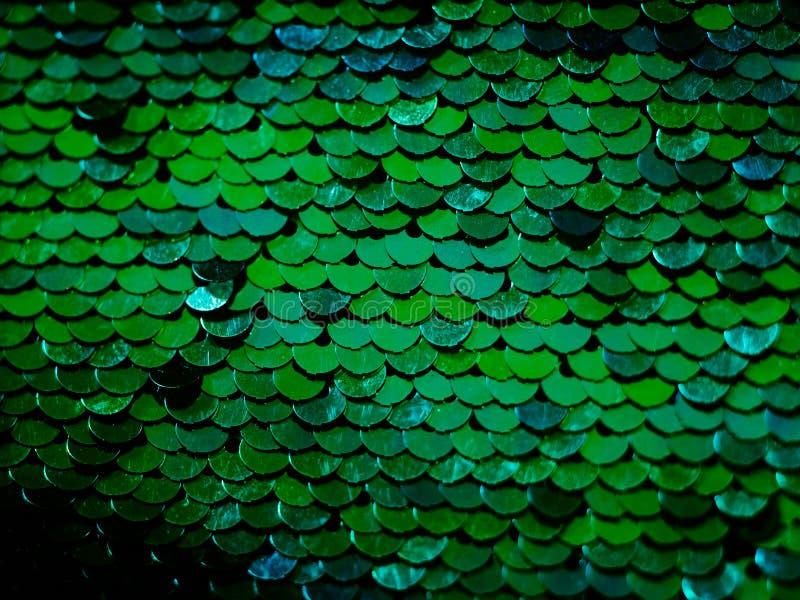 Grüne Paillettegewebehintergrund-Meerjungfrauskala stockbilder