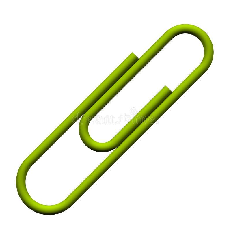 Grüne Papierklammer lizenzfreie abbildung