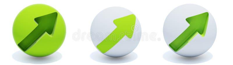Grüne Pfeile auf Kugel stock abbildung