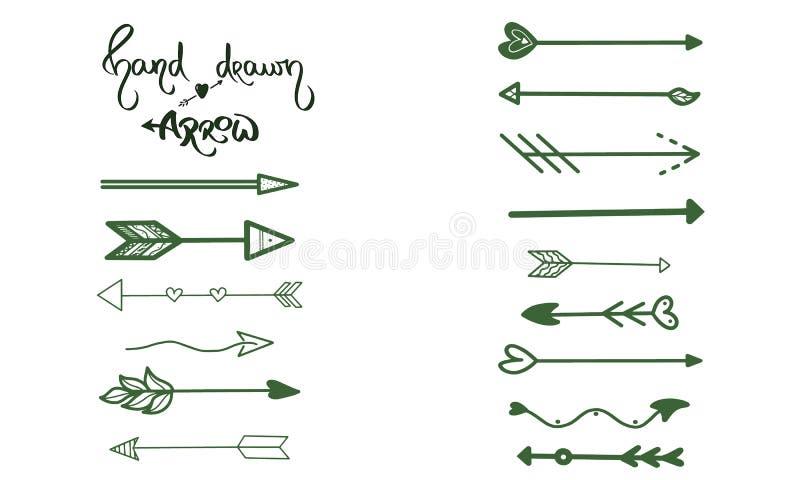 Grüne Pfeile bürsten Handzeichnung auf weißem Hintergrund Geschäftsgrußkarte, Postkarte, Entwurfssymbol, ui Element, grafischer Z lizenzfreie abbildung