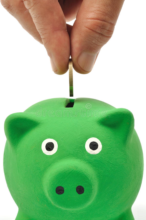 Grüne Piggy Querneigung stockbilder
