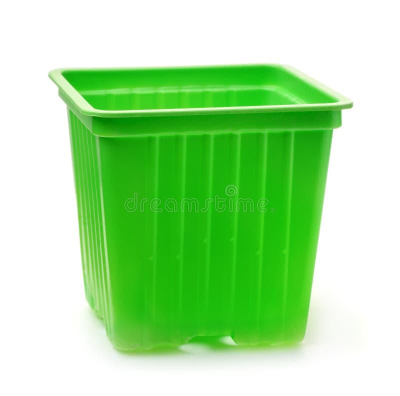 Grüne Plastiksämlingskindertagesstättentöpfe stockfotografie