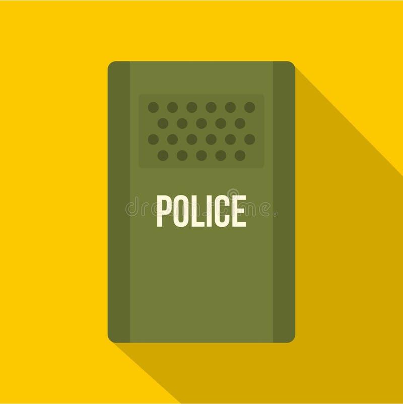 Grüne Polizei randaliert Schildikone, flache Art vektor abbildung
