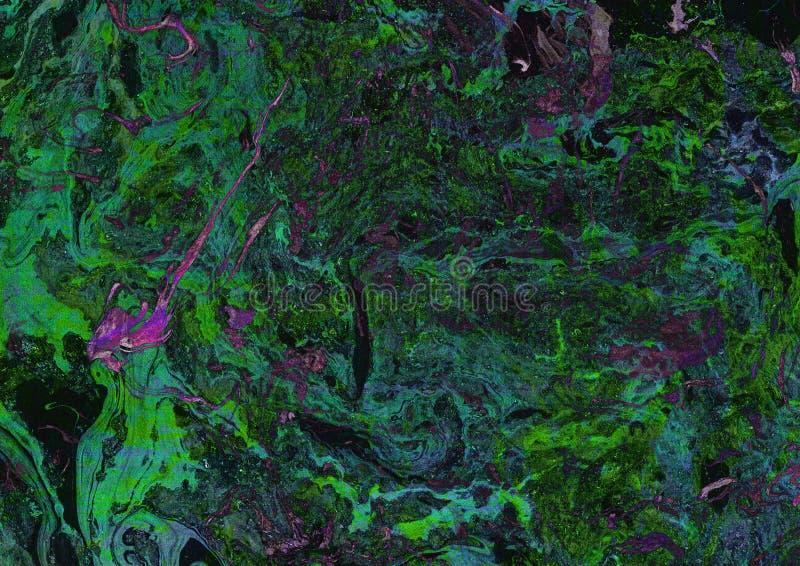 Grüne purpurrote Malereien mit dem Marmorn Kann als Hintergrund verwendet werden Malen Sie spla lizenzfreie abbildung