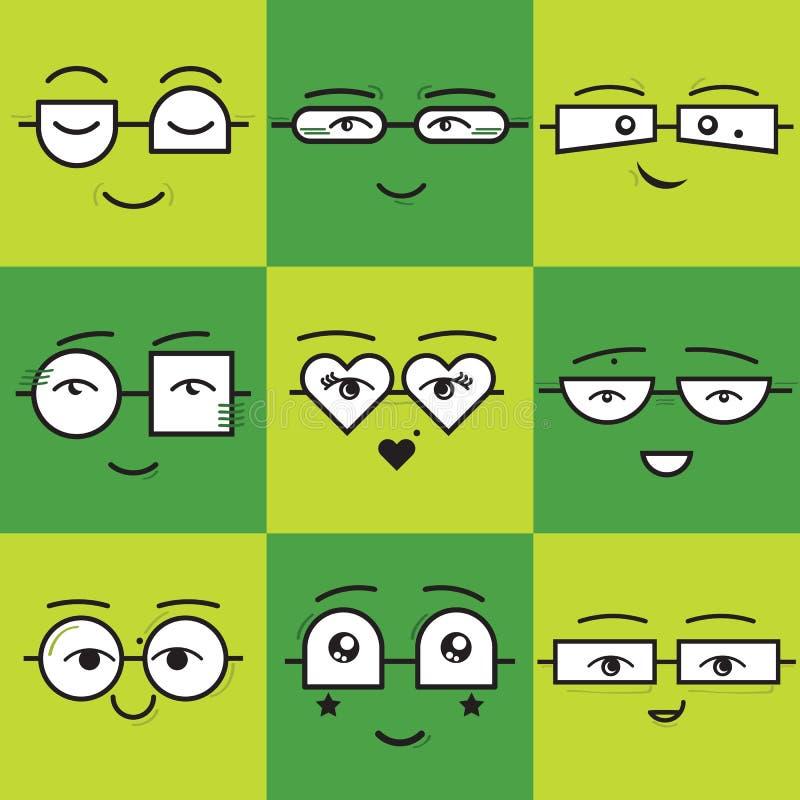 Grüne quadratische Aufkleber Emoticons lächeln gegenüberstellt die Ikonen, die mit unterschiedlicher Sonnenbrille eingestellt wer stock abbildung