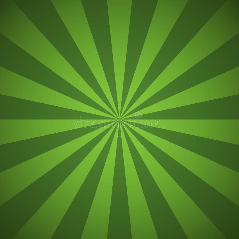 Grüne Radialstrahlen und abstrakte Linien Hintergrund der Strahlen lizenzfreie abbildung