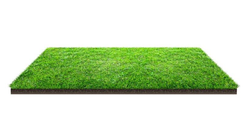 Grüne Rasenfläche lokalisiert auf Weiß mit Beschneidungspfad Sportfeld Sommerteamspiele stockbilder