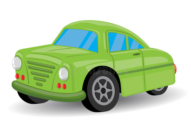 Grüne Retro-/Weinlese-Auto-Karikatur - Vektor stock abbildung