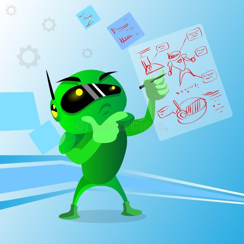 Grüne Roboter-Abnutzungs-Digital-Gläser, die Hand Chin Pondering halten vektor abbildung