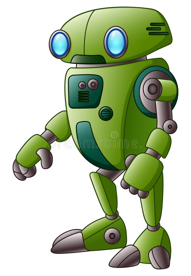 Grüne Roboterzeichentrickfilm-figur lokalisiert auf weißem Hintergrund vektor abbildung