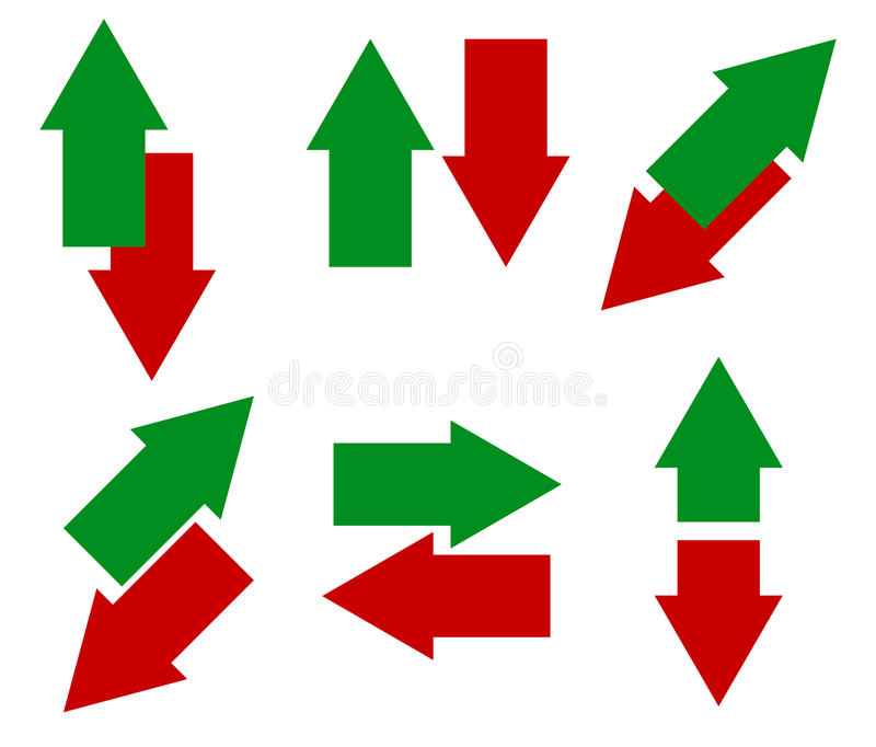 Grüne, rote Pfeile in der entgegengesetzten Richtung Herauf, unten und linksrechts stock abbildung