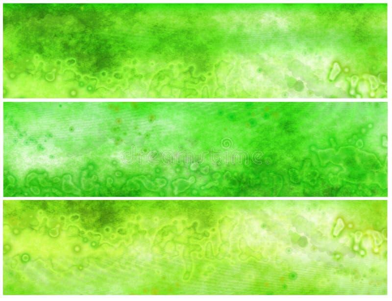 Grüne saure Grunge Fahnen oder Vorsätze lizenzfreie abbildung