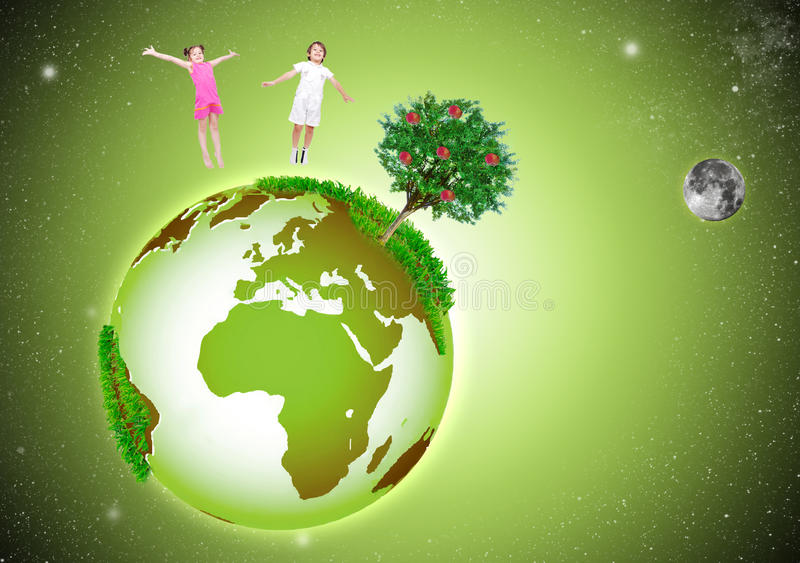 Grüne schöne Erde im Platz, mit zwei glücklich stock abbildung