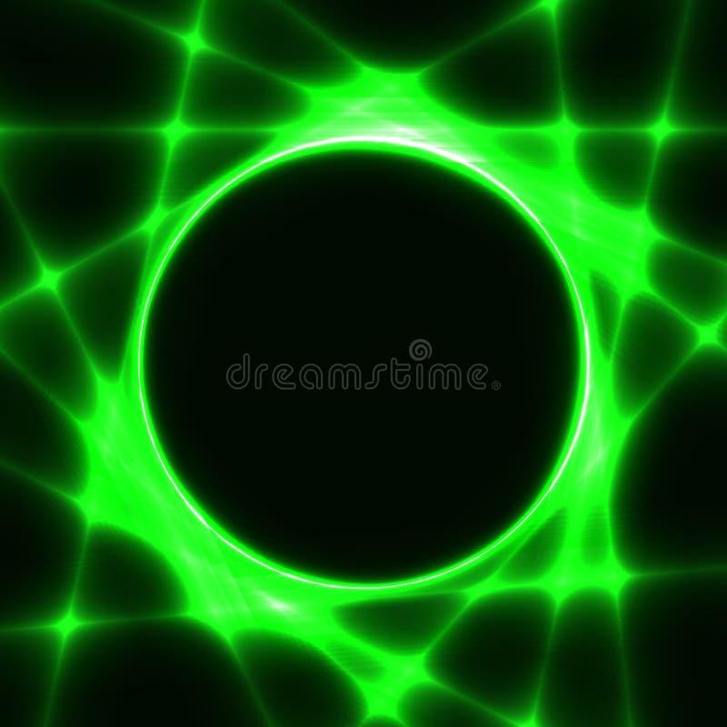Grüne Schablone mit dunklem Kreis und Laserstrahlen vektor abbildung