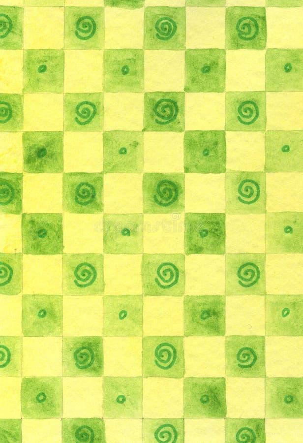 Grüne Schachbrettauslegung stock abbildung